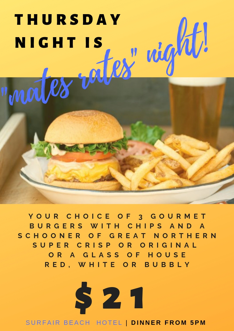 MATES RATES BURGER NIGHT